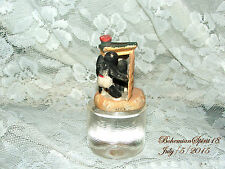 ANTIQUE MINIATURE PORCELAIN OUTHOUSE TWO BLACK AMERICAN KIDS COLLECTABLE