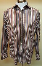 Thomas Dean Mens Brown Contrast Spread Collar and Cuffs Striped Shirt Sz Small