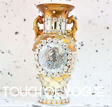 ROMANY VASE GOLD SILVER DIAMANTE CERAMIC GYPSY FLOWERS MIRROR DECORATION