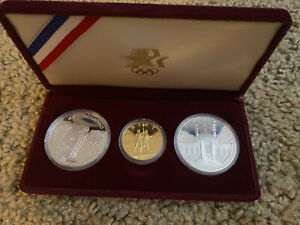 1984 OLYMPIC $10 GOLD & $ SILVER COMMEMORATIVE 3-COIN SET PROOF
