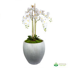 Artificial Fake Plants Lucy White Orchid Arrangement 1.45m