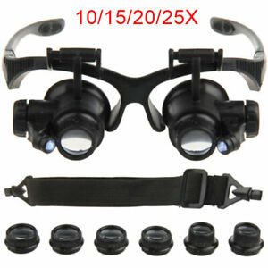 25X Magnifier Magnifying Eye Glass Loupe Jeweler Watch Repair With LED Light
