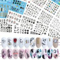 36pcs Letter Black Slider Nails Sticker Flower Water Transfer Decals Nail Art