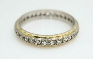 *Vintage 9ct Gold Full Eternity Spinel Ring In White and Yellow Gold, Size P