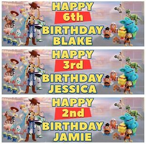 2 x Personalised TOY STORY 4 Birthday Banner ANY NAME, ANY AGE