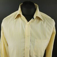 Tommy Hilfiger Mens Shirt 41 16 (XL) Long Sleeve Yellow Regular Fit Striped