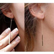 Dainty Gold Women's Fashion Long Bar Drop Dangling Earrings Tassel Pair UK