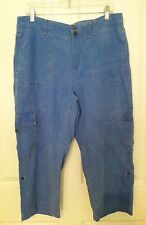 ColdWater Creek Pants Capri Capris Blue SOFT Summer Casual Beach Linen Blend 14