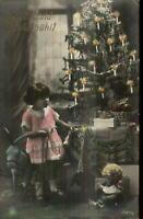 Christmas Girl New Toys Doll Stuffed Donkey Tree Tinted Real Photo Postcard