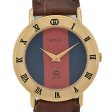 GUCCI 3001L Blue/Red Dial GP/Leather Quartz Ladies Watch F#95117