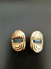 Swarovski Swan Marked Earrings Blue Baguette Crystals Gold Tone Clip On