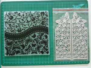 Prägefolder und Stanzschablone Schmetterlinge Hintergrund Kartenaufleger