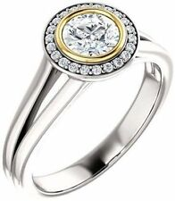 1.12 carat total Round DIAMOND Halo Engagement Solitaire 14K Two Tone Gold Ring