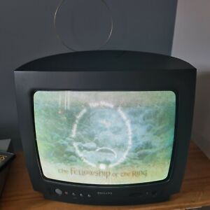 """Philips 14"""" Colour CRT TV Monitor + 2 Remotes RETRO GAMING (14PT1332/05)  TESTED"""
