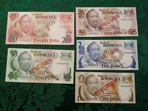 BOTSWANA 1979 1 - 20 Pula Complete 5 Specimen Set CS1 P 1-5 UNC 000672