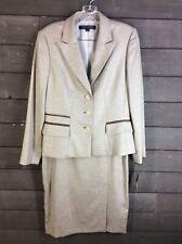 NWT Anne Klein 528 Beige Brown Skirt Blazer Women's 6