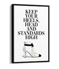 HEELS HEAD AND STANDARDS HIGH -FLOAT EFFECT CANVAS WALL ART PIC PRINT- BLACK