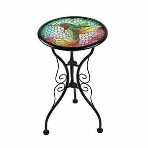 Liffy Hummingbird Outdoor Side Table Round Painted Glass Desk for Garden, Patio