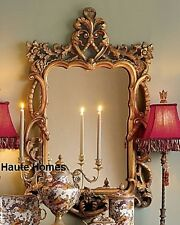 "NEW Horchow LARGE 48"" VICTORIAN FLORAL Scroll ORNATE Wall VANITY Mirror Gold"