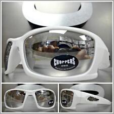 WRAP AROUND SPORT Motorcycle Riding CHOPPERS SUN GLASSES White Frame Chrome Lens