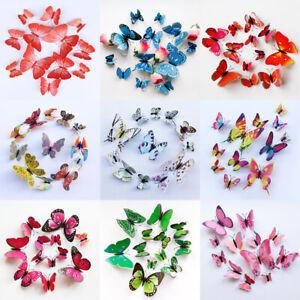 12pcs 3D Butterfly Decor Removable Magnet Wall Sticker Backdrop Art Decal DIY