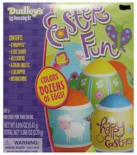 DUDLEY'S* 68pc EASTER FUN Non-Toxic EGG DECORATING KIT Pure Food Colors STICKERS