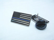 THIN BLUE LINE US STATES POLICE OFFICER MOURNING BAND PIN BADGE FALLEN COPS