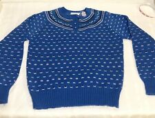 Vintage 1960's Women's Northern Isles Sweater w/Button Blue, Pink, Green Sz. M/L
