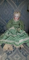 ANTIQUE BLONDE CHINA SHOULDER HEAD DOLL ANTIQUE BODY