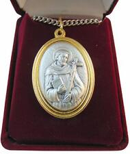 """St Francis Medal 1.5"""" Saint Pendant with Steel Chain + Gift Boxed from Italy"""