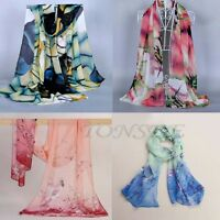 Women's Chiffon Soft Scarves Long Wraps Shawl Beach Colors Silk Scarf