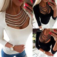 Women Casual Rivet Hollow Long Sleeve Tops Slim Fit T-shirt Ladies Casual Blouse