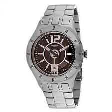Swatch Men Irony In A Brown Mode Steel Dress Watch Date 44mm  YTS406G $160