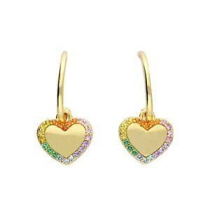 Gold Plated 925 Sterling Silver Rainbow Heart Hoop Earrings Womens Jewellery