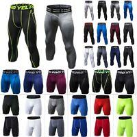 Men Gym Compression 3/4 Leggings Workout Sport Short Pants Base Trouser Fitness