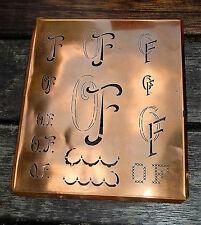 """Monogramm """" OF """" Wäschemonogramm Wäscheschablone Wäschezeichen 11/13 cm KUPFER"""
