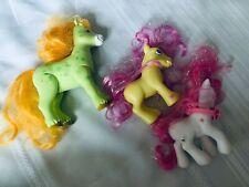 My Little Pony Strawberry Swirl and Yellow Glitter Hair Umbrella 3 Ponies Lot