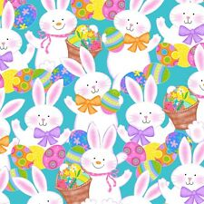 Fabric Springtime Bunny Rabbits & Eggs Cartoon Full on Blue Cotton by 1/4 yard