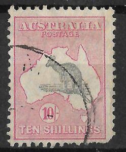 K1507) Australia 1932 10/- Grey-black & rose-crimson C of A watermark Kangaroo