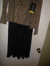 J R NITES BY Caliendo 3-Piece gold mesh Cardigan & Tank & black Pants,sz6 NWT