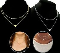 Neu Schmuck Anhänger 925 Silber Gold Herz Klobige Kette Lätzchen Halskette Damen