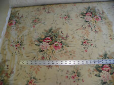 Light Beige Flower Print Cotton Upholstery Fabric  1 Yard  F1447
