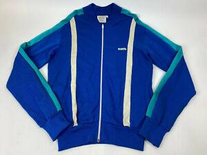 Vtg McGREGOR Competitor FULL Zip SWEATSHIRT Jacket BLUE White TEAL Men's Sz L