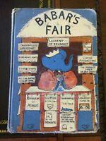 Babar's Fair, DeBrunhoff, True Am.1st ed, Ex Lib, 1954, Script ,acceptable