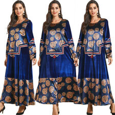 Velvet Abaya Women Muslim Thick Long Maxi Dress Embroidery Robe Kaftan Jilbab