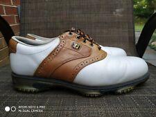 New listing Footjoy DryJoys Tour Saddle Mens Golf Shoes White Tan Leather 9.5 X Wide 53733