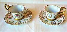 Paire de tasses et sous-tasse en Porcelaine Allemande, marque MP Couronné