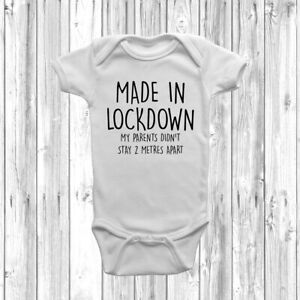 Made In Lockdown Baby Grow Body Suit Vest Funny Gift Baby Announcement Pregnancy