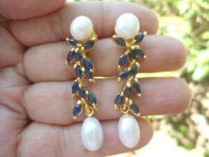 Natural White Pearl & IOLITE 925 Sterling Silver EARRINGS