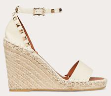 Valentino Rockstud Ivory Ankle Strap Espadrille Platform Wedge Sandal Heel 39